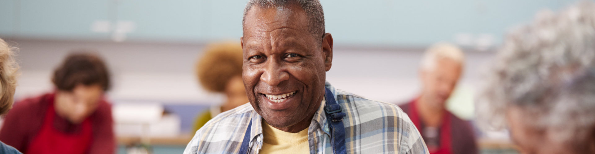an elderly smiling